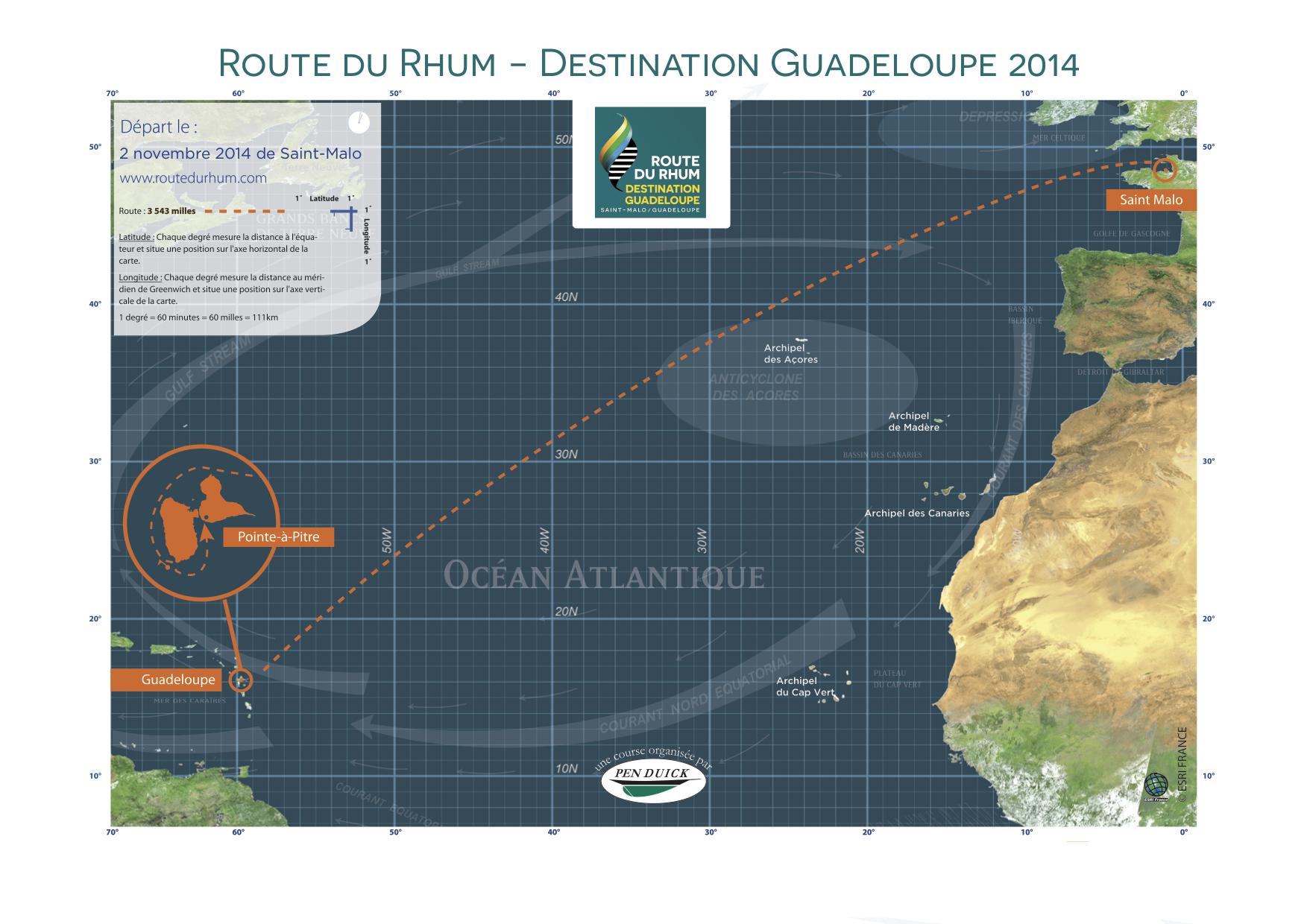 Carte officielle Route du Rhum 2014
